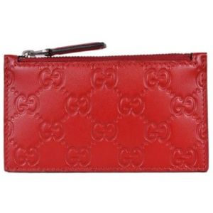 NWT Gucci Red Leather Guccissima Zip Wallet 435366